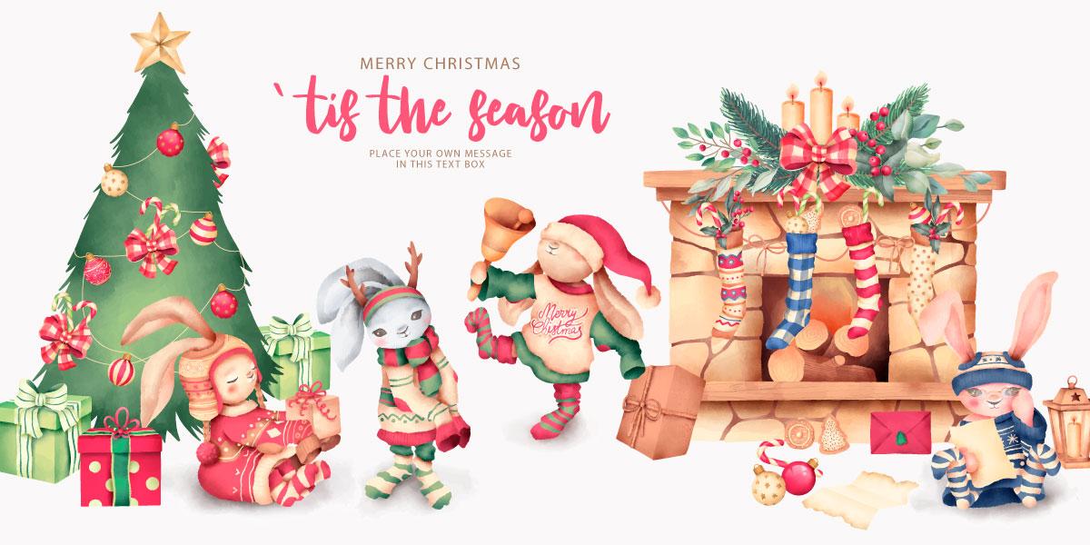 优雅可爱圣诞节主题元素设计矢量素材包 Elegant and Lovely Christmas Backgrounds Set插图(14)
