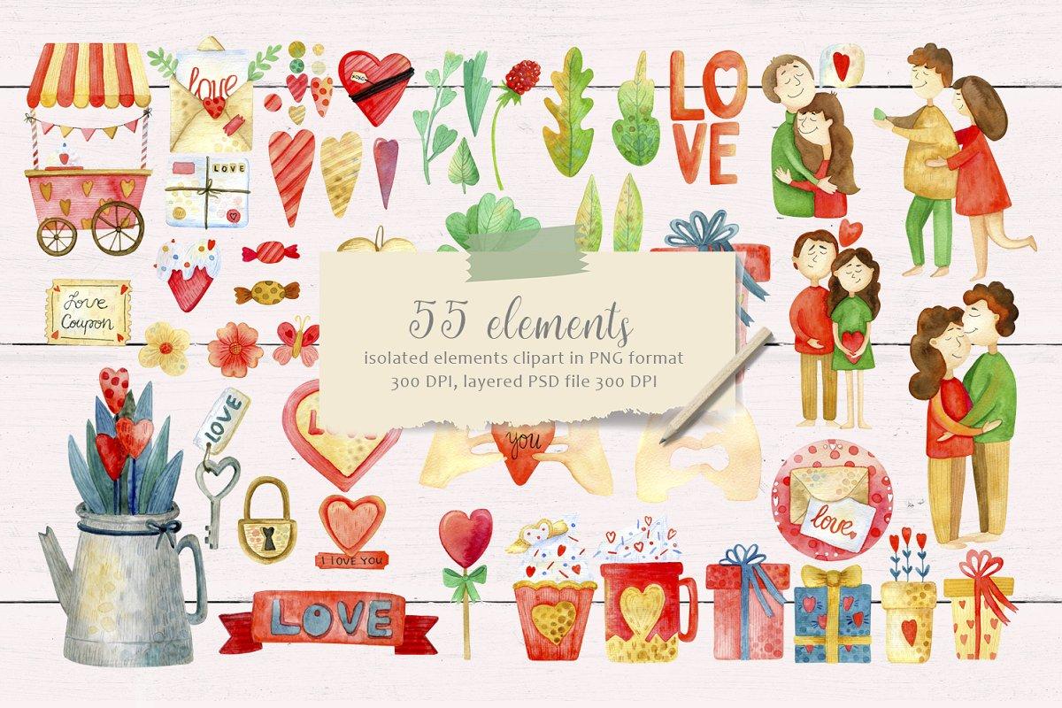 高质量红褐色情人节手绘水彩插画设计素材包 Valentines Day Watercolor Set插图(1)