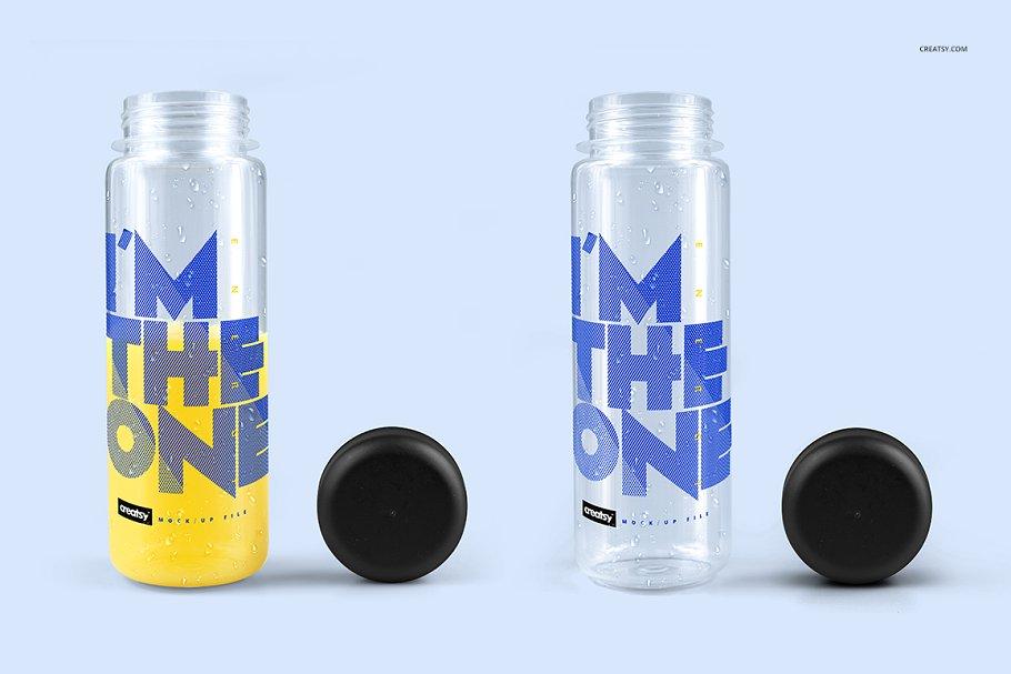 透明塑料水瓶设计效果图样机模板 Clear Water Bottle Mockup Set插图(1)