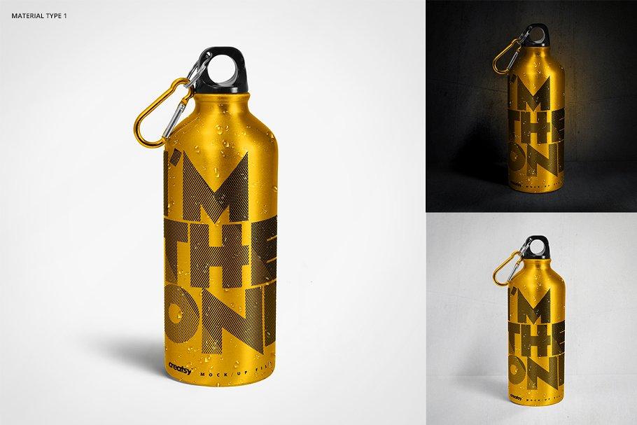 铝质金属水瓶设计PSD样机模板 Aluminium Water Bottle Mockup Set插图(1)