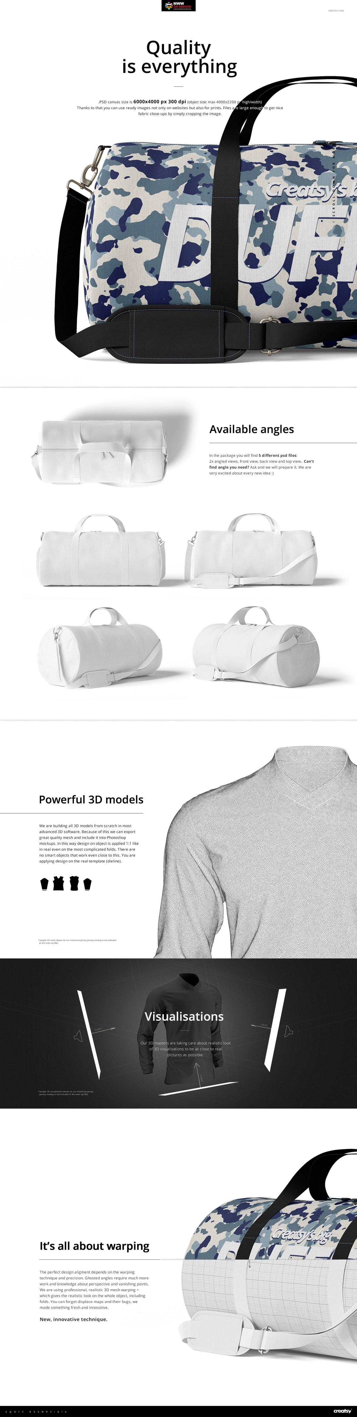 手提/斜挎帆布行李包设计展示图样机模板(23×12) Duffel Bag Mockup Set (23×12)插图(1)