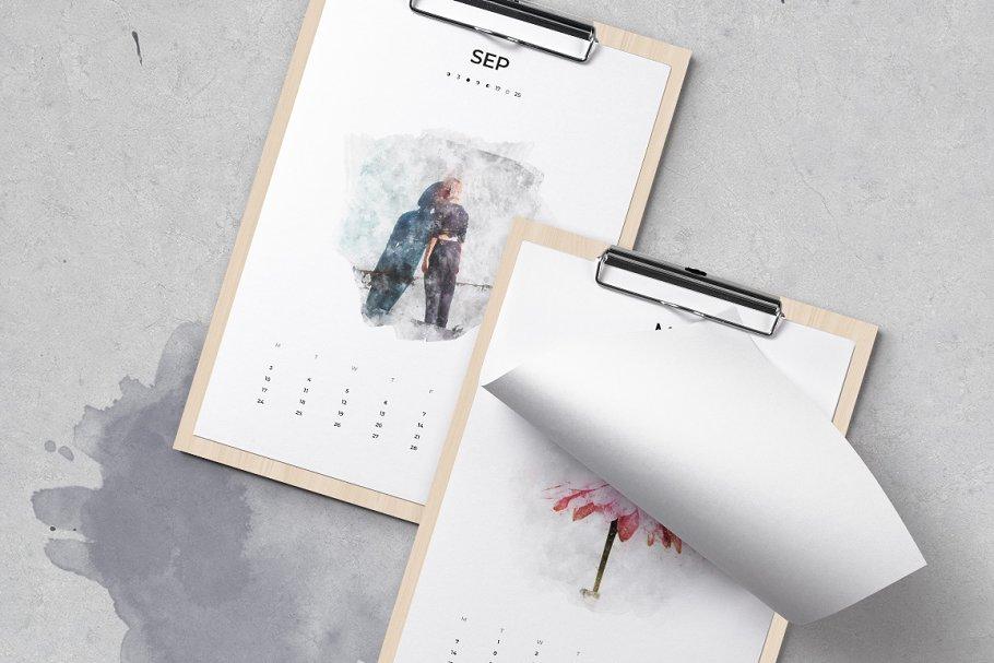 出色创意2020年水彩日历台历设计INDD模板 2020 Watercolor Calendar插图(1)