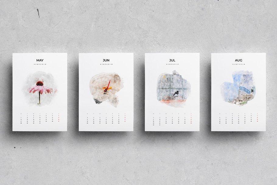 出色创意2020年水彩日历台历设计INDD模板 2020 Watercolor Calendar插图(3)