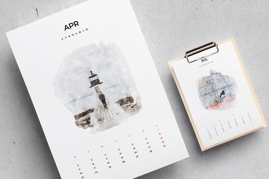 出色创意2020年水彩日历台历设计INDD模板 2020 Watercolor Calendar插图(4)