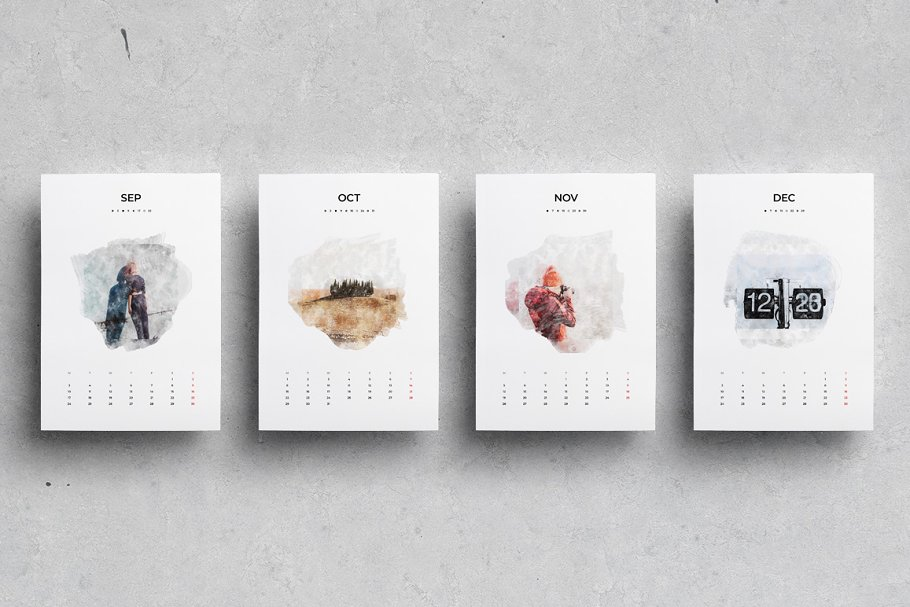 出色创意2020年水彩日历台历设计INDD模板 2020 Watercolor Calendar插图(5)