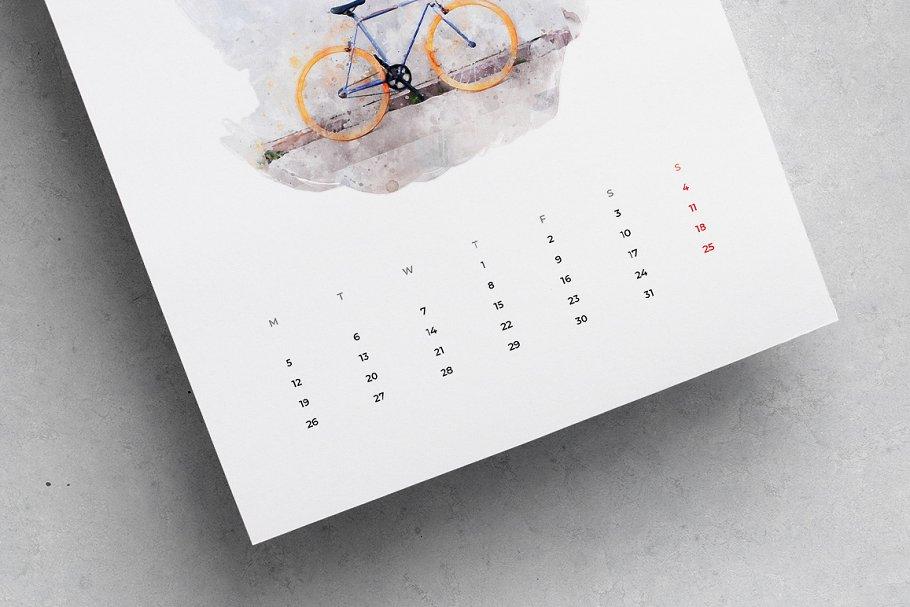 出色创意2020年水彩日历台历设计INDD模板 2020 Watercolor Calendar插图(6)