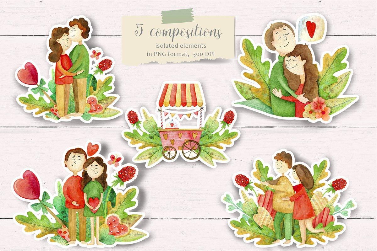 高质量红褐色情人节手绘水彩插画设计素材包 Valentines Day Watercolor Set插图(2)