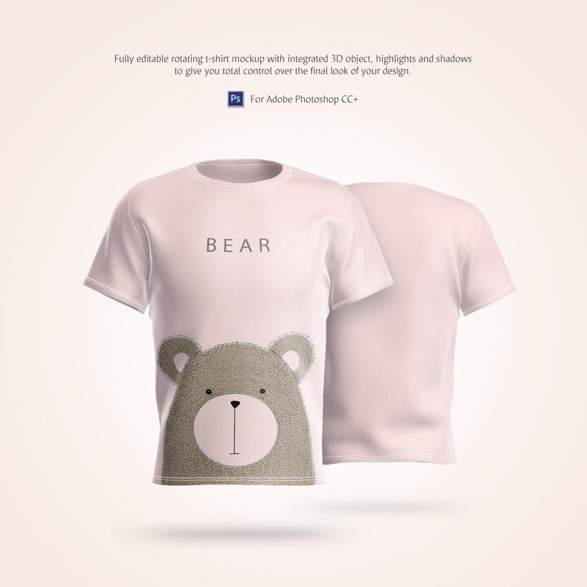 T恤设计360°旋转效果图样机模板 T-Shirt Animated Mockup插图(1)