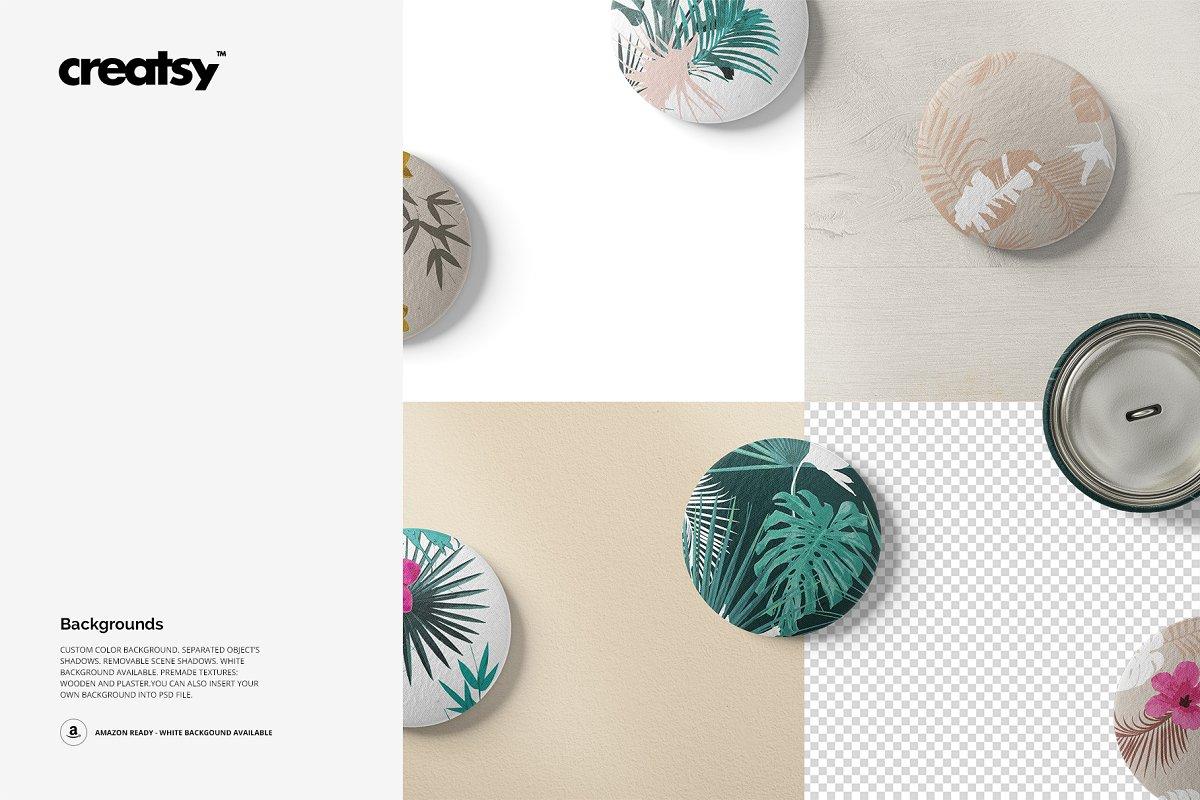 纺织品服装纽扣设计样机模板 Fabric Buttons Mockup 60/FF v.6插图(2)