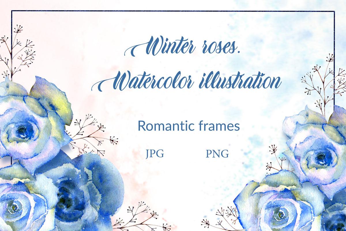 浪漫情人节手绘蓝色水彩玫瑰花剪贴画设计素材 Blue Roses. Watercolor Illustrations插图