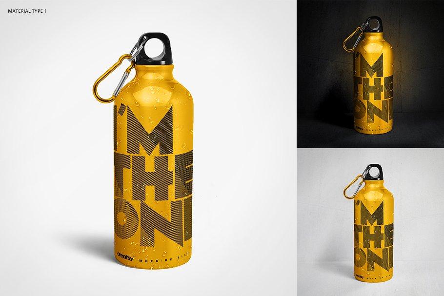 铝质金属水瓶设计PSD样机模板 Aluminium Water Bottle Mockup Set插图(2)