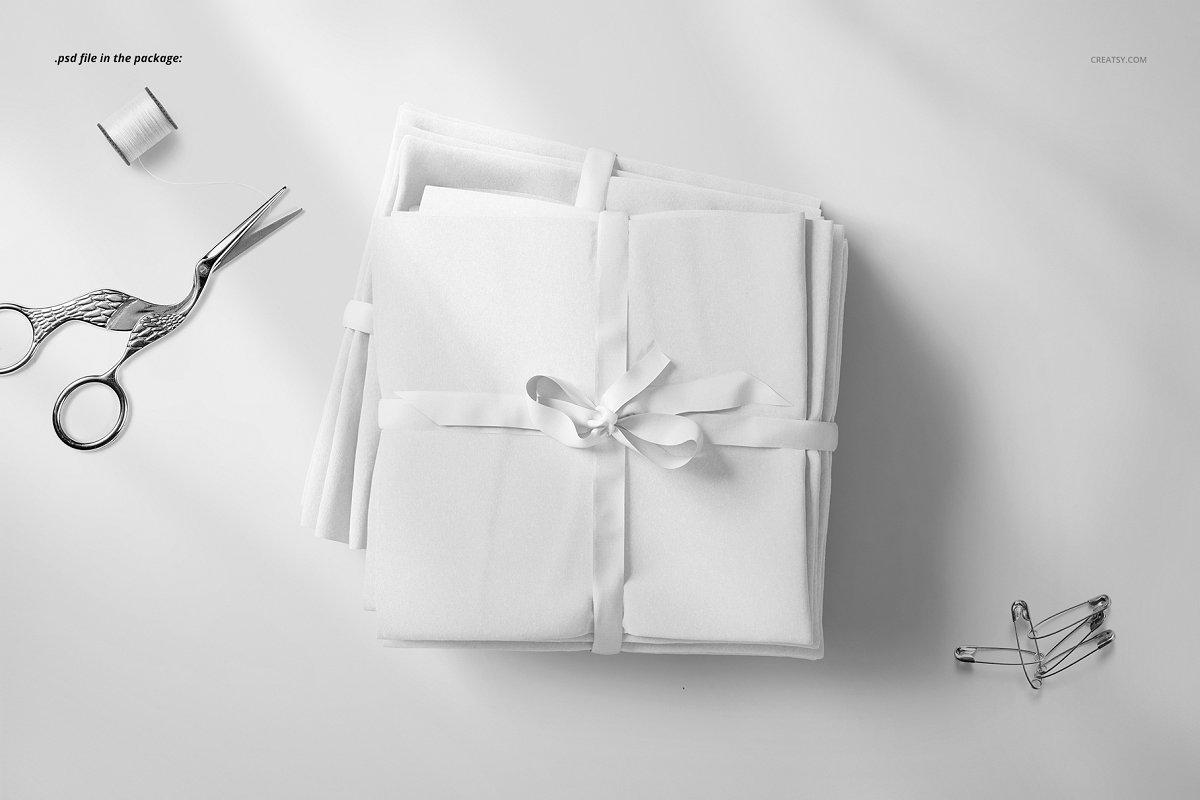 堆积捆绑纺织面料设计展示样机模板 Fabric Stack Mockup 04/FF v.6插图(3)