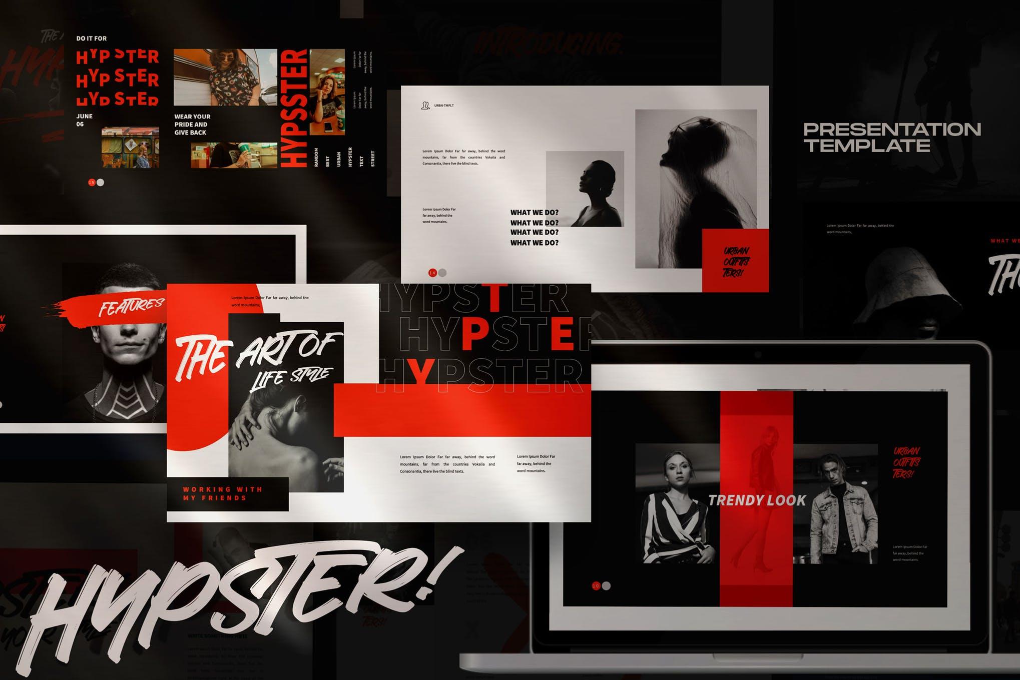 时尚多用途服装品牌摄影作品集PPT幻灯片模板素材 Hypester – urban design creative powerpoint插图