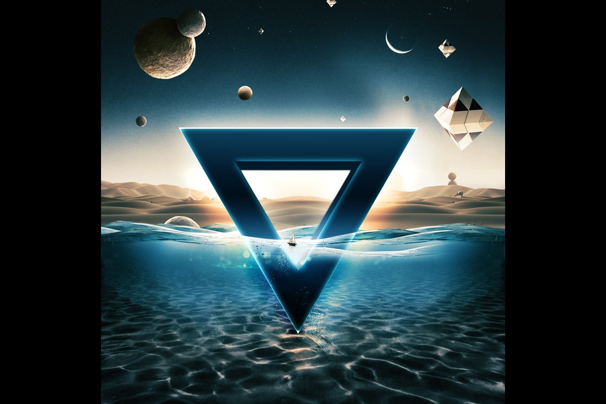科幻电影半水下文字标志标题3D效果PS图层样式模板 Underwater Text Logo Effect插图(1)