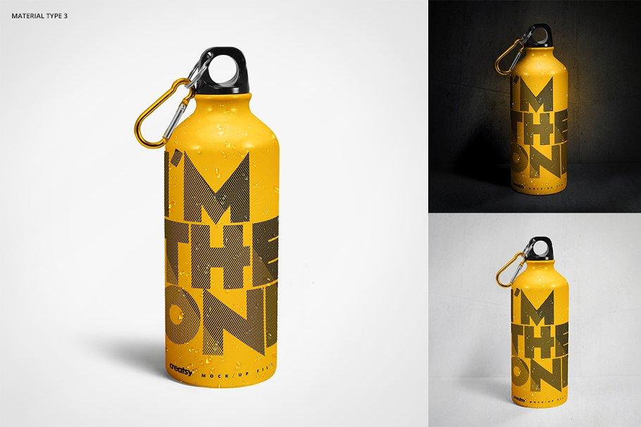 铝质金属水瓶设计PSD样机模板 Aluminium Water Bottle Mockup Set插图(3)