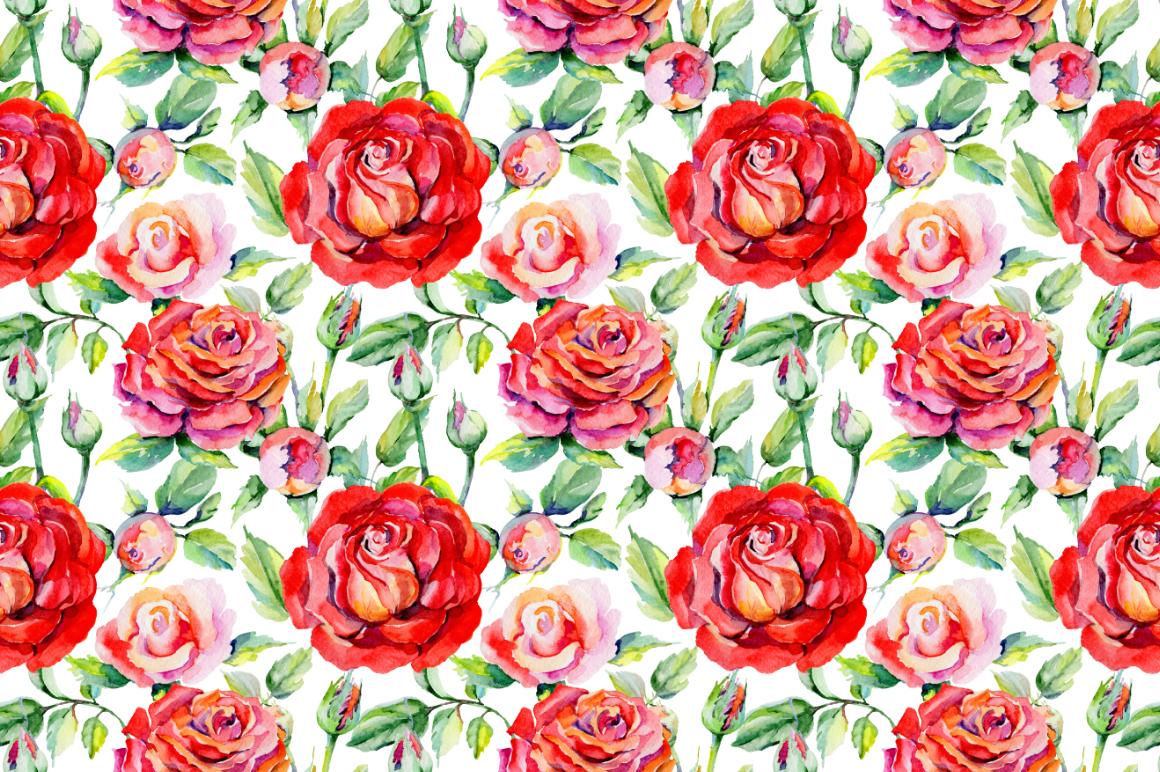 鲜艳玫瑰红色花卉水彩剪贴画套装 Roses Red PNG Watercolor Flower Set插图(3)