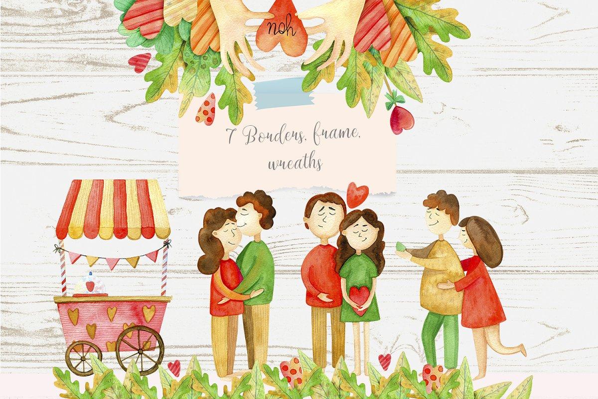 高质量红褐色情人节手绘水彩插画设计素材包 Valentines Day Watercolor Set插图(4)