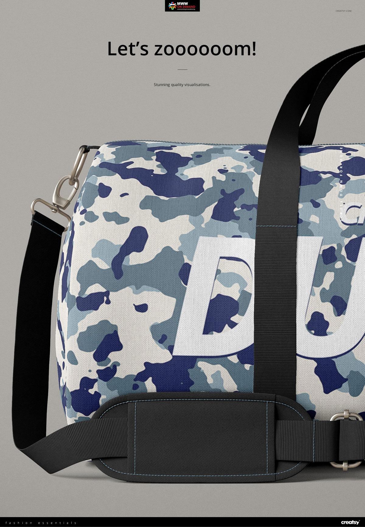 手提/斜挎帆布行李包设计展示图样机模板(23×12) Duffel Bag Mockup Set (23×12)插图(4)