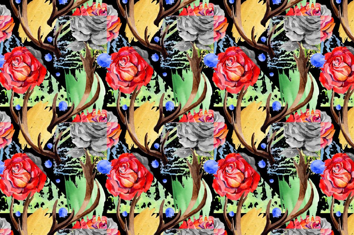 鲜艳玫瑰红色花卉水彩剪贴画套装 Roses Red PNG Watercolor Flower Set插图(4)