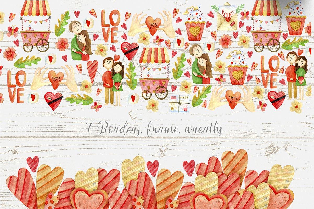 高质量红褐色情人节手绘水彩插画设计素材包 Valentines Day Watercolor Set插图(5)