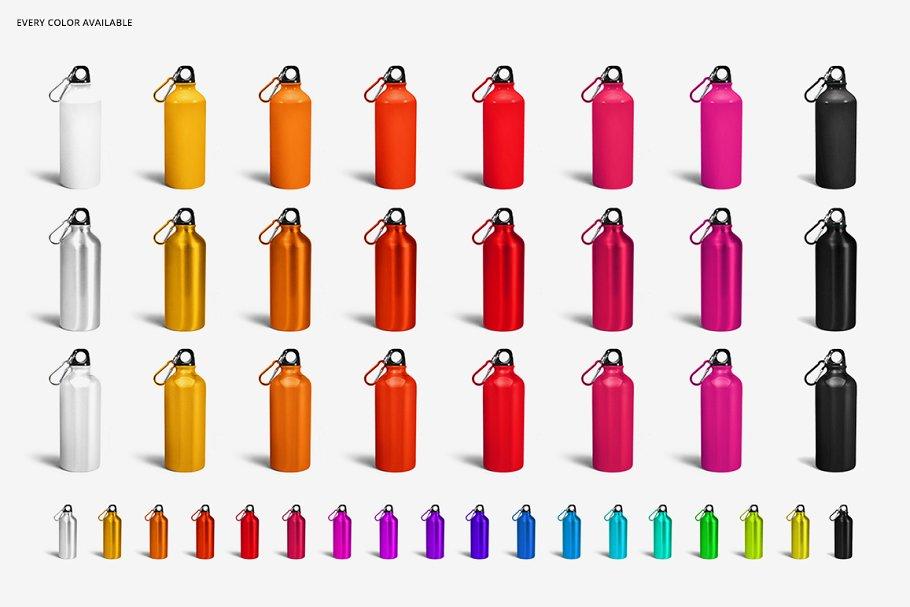 铝质金属水瓶设计PSD样机模板 Aluminium Water Bottle Mockup Set插图(5)