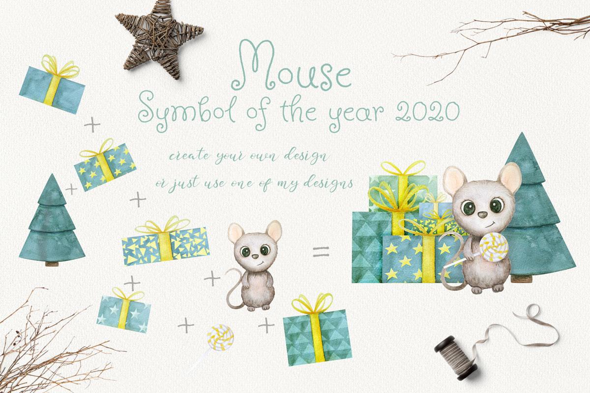 可爱手绘2020新年老鼠水彩插画合集 Mouse New Year 2020 Watercolor Set插图(2)