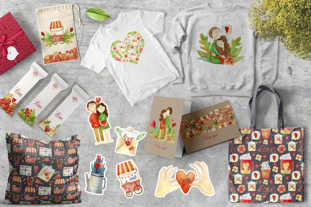 高质量红褐色情人节手绘水彩插画设计素材包 Valentines Day Watercolor Set插图(6)