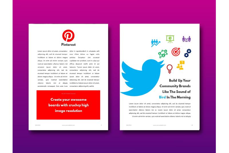 明亮简约品牌营销Instagram社交媒体素材包 Social Media Marketing eBook Template PowerPoint插图(7)