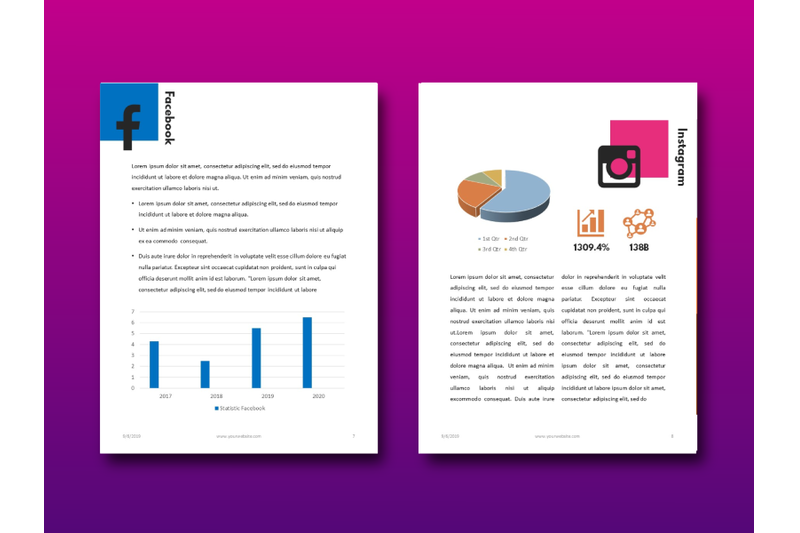 明亮简约品牌营销Instagram社交媒体素材包 Social Media Marketing eBook Template PowerPoint插图(4)