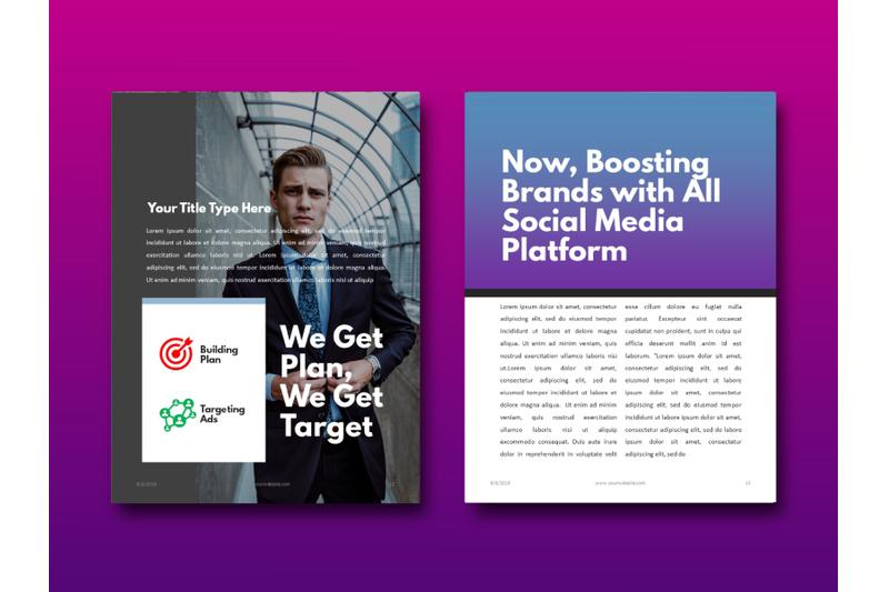 明亮简约品牌营销Instagram社交媒体素材包 Social Media Marketing eBook Template PowerPoint插图(2)