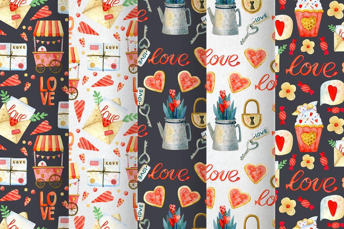 高质量红褐色情人节手绘水彩插画设计素材包 Valentines Day Watercolor Set插图(7)