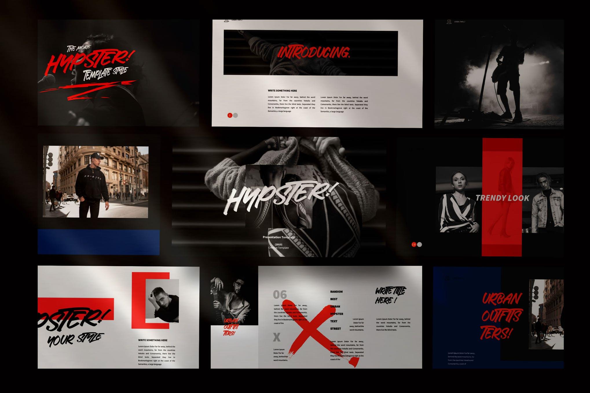 时尚多用途服装品牌摄影作品集PPT幻灯片模板素材 Hypester – urban design creative powerpoint插图(1)