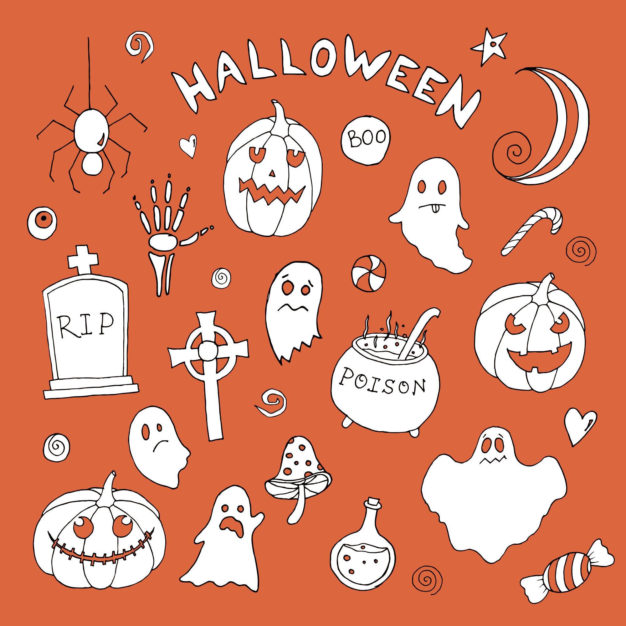 可爱万圣节矢量图案平面设计素材包 Halloween Vector Elements & Patterns – Part II插图