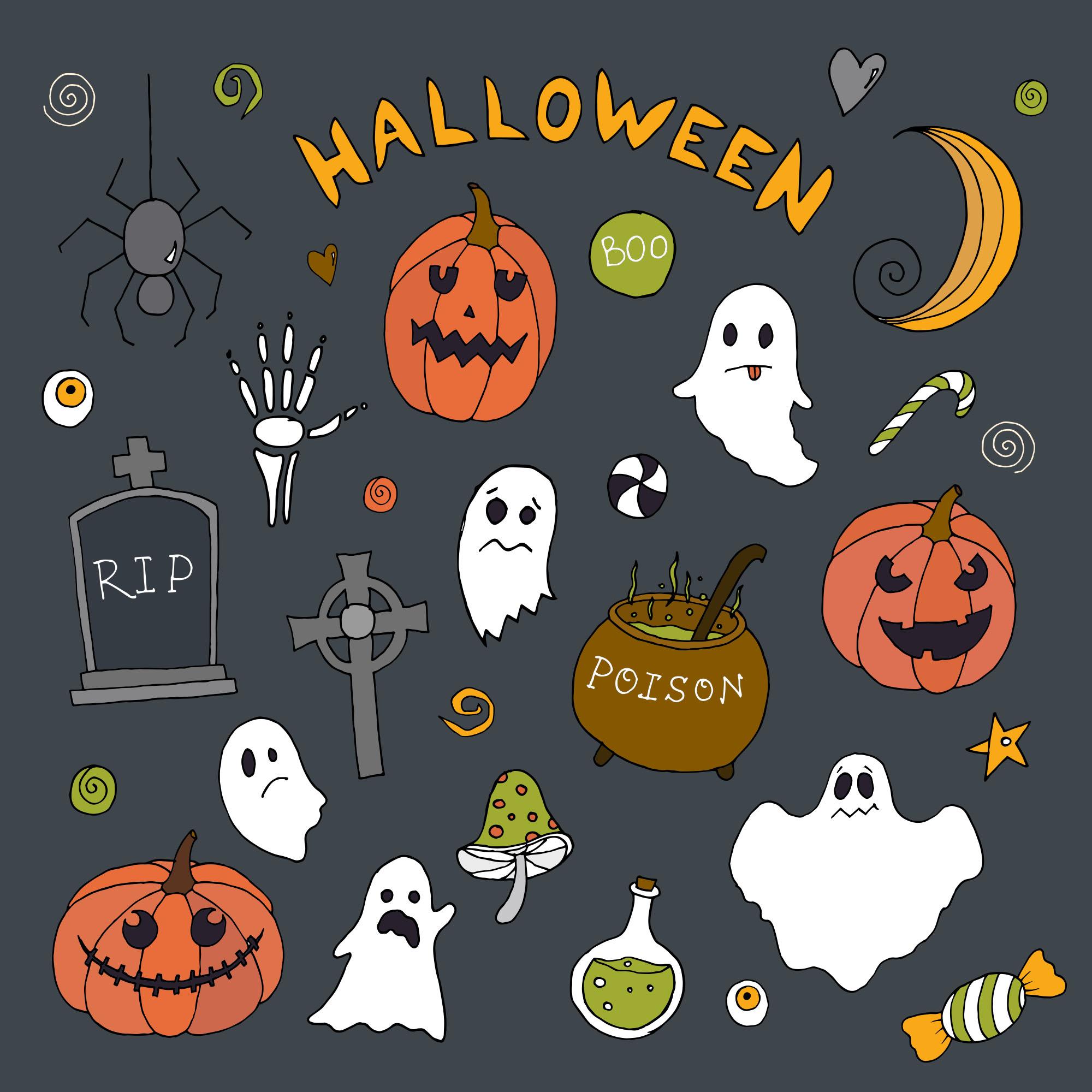 可爱万圣节矢量图案平面设计素材包 Halloween Vector Elements & Patterns – Part II插图(1)