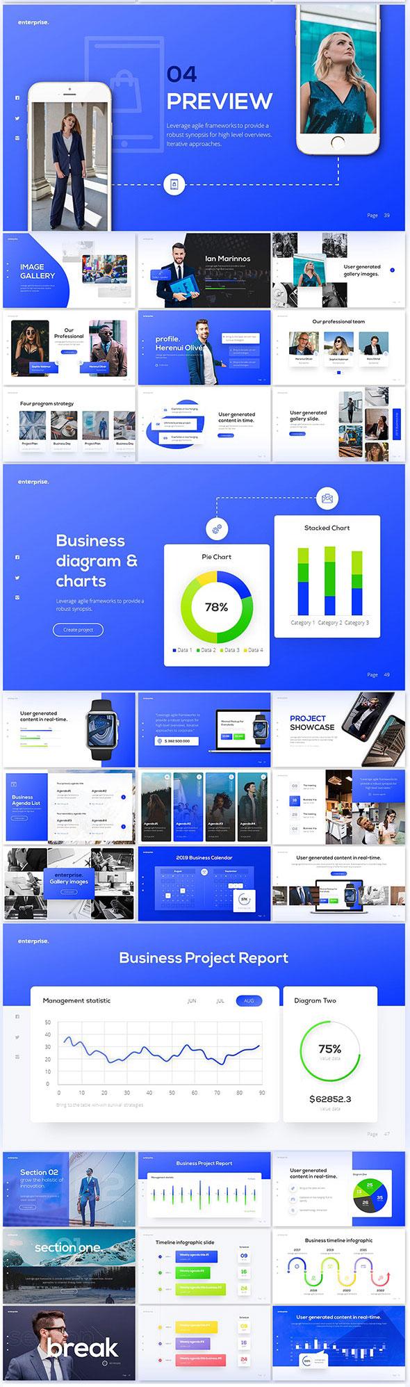 强大简约蓝色企业业务报表计划书PPT演示文稿设计模板 Enterprise Business PowerPoint Presentation Template插图(1)