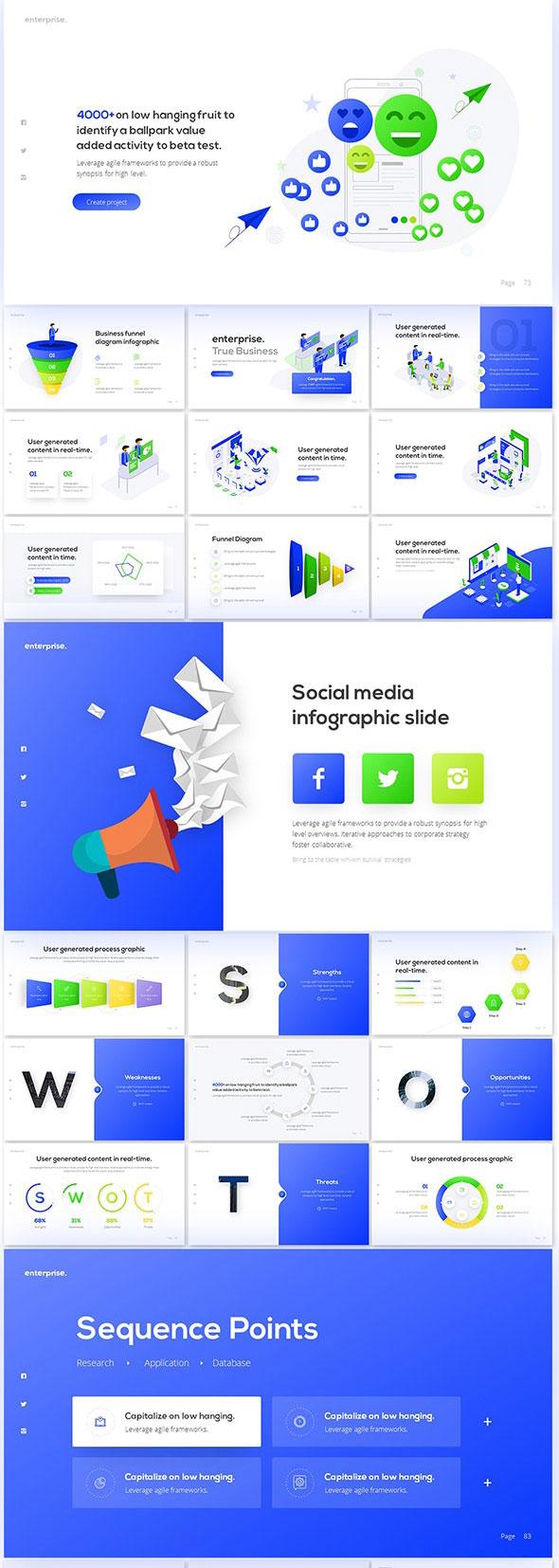 强大简约蓝色企业业务报表计划书PPT演示文稿设计模板 Enterprise Business PowerPoint Presentation Template插图(2)