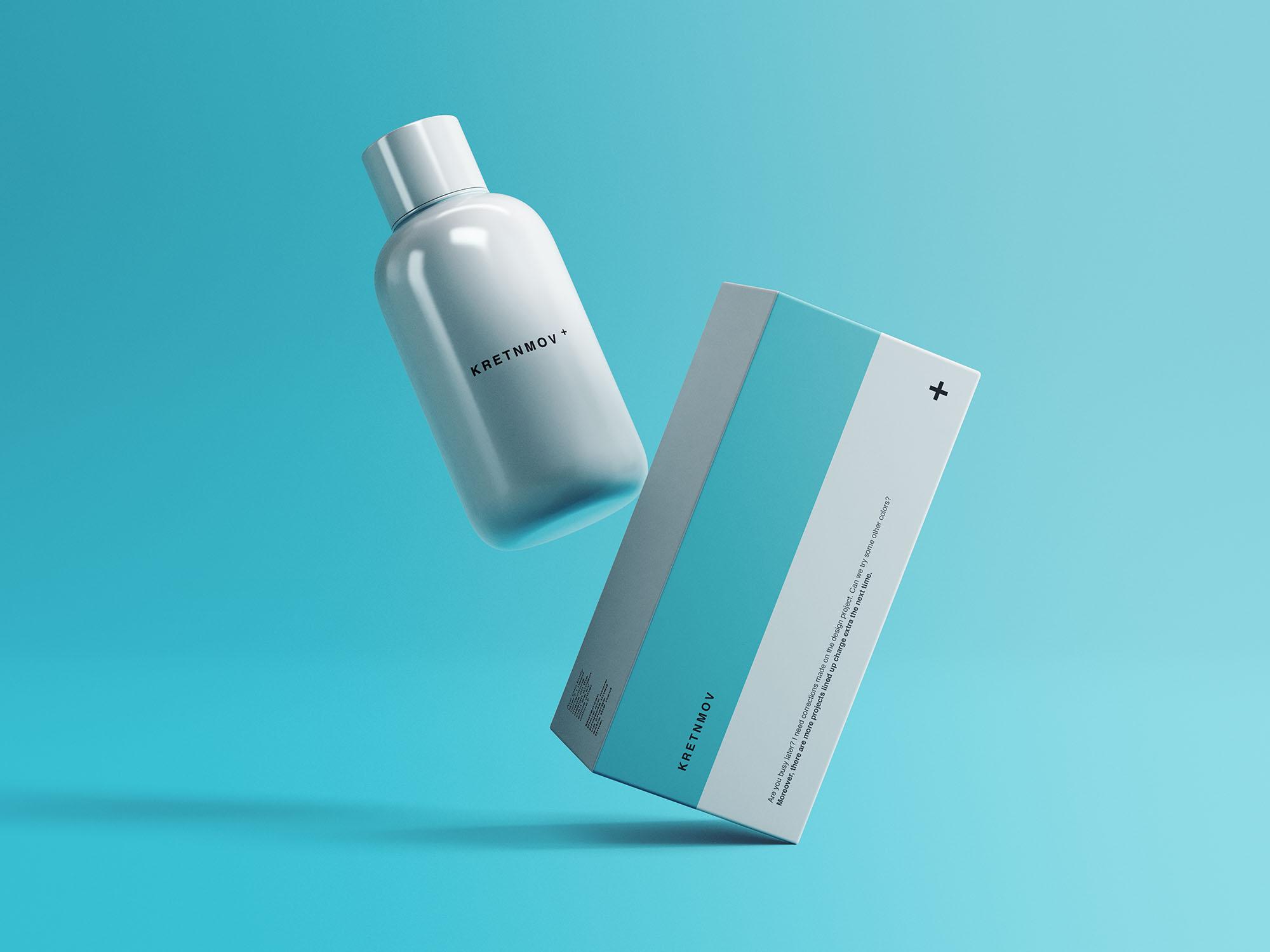 浮动医疗药丸塑料瓶&包装盒子设计效果图样机模板 Medical Packaging Mockup插图