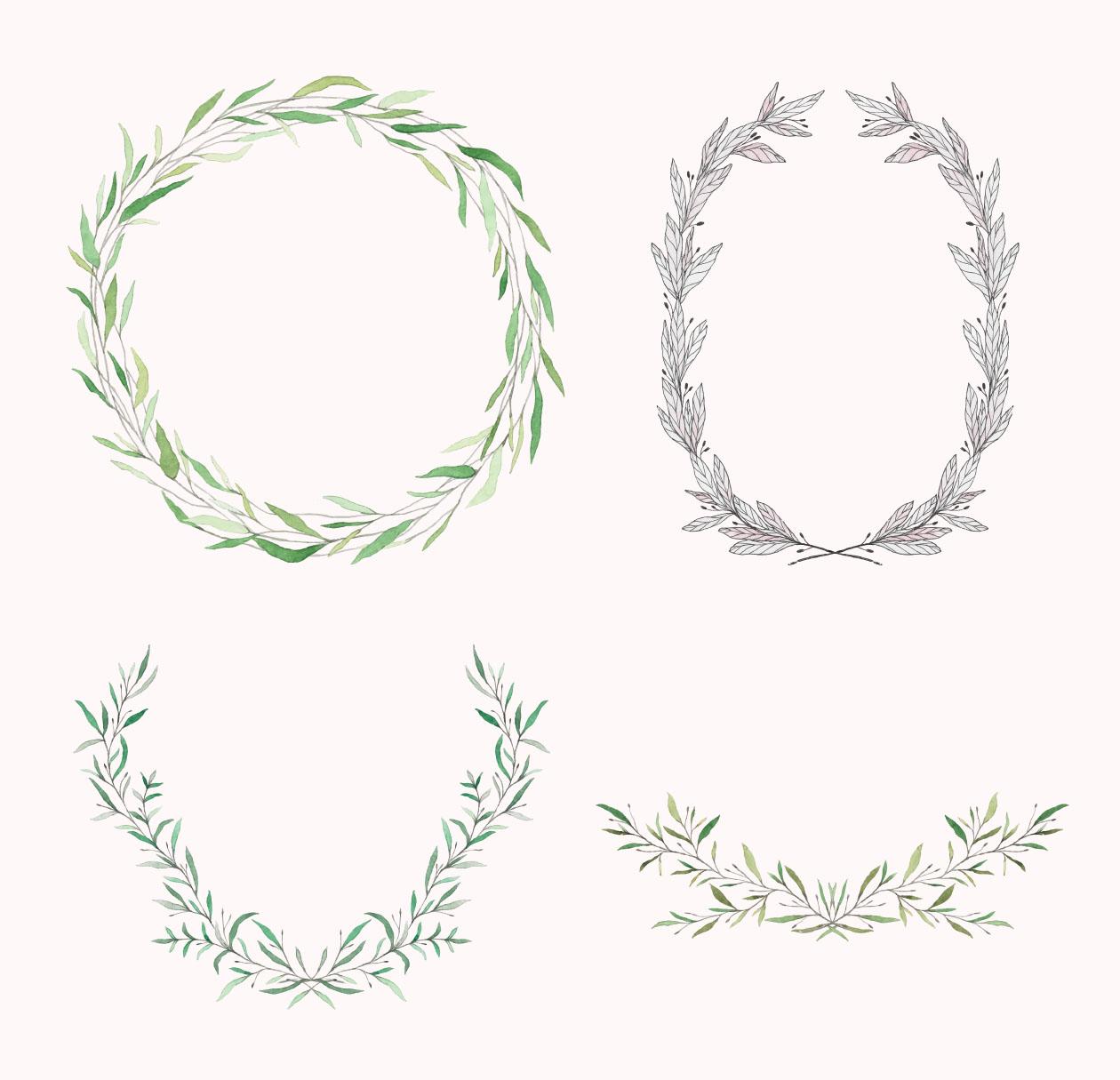 精美手绘花卉橄榄枝婚礼元素矢量素材包 The Ultimate Wedding Design Pack插图(5)