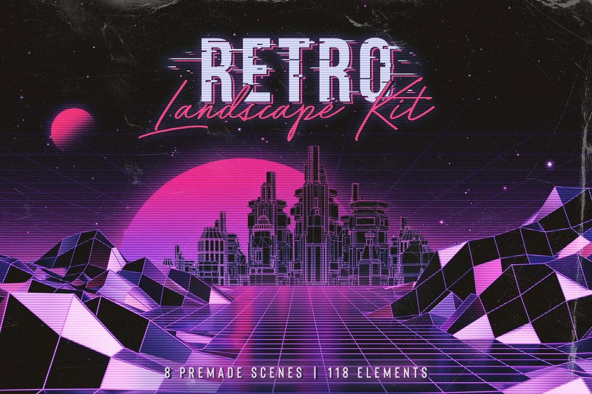 80年代复古时尚元素背景设计套装 Retro Landscape Kit插图