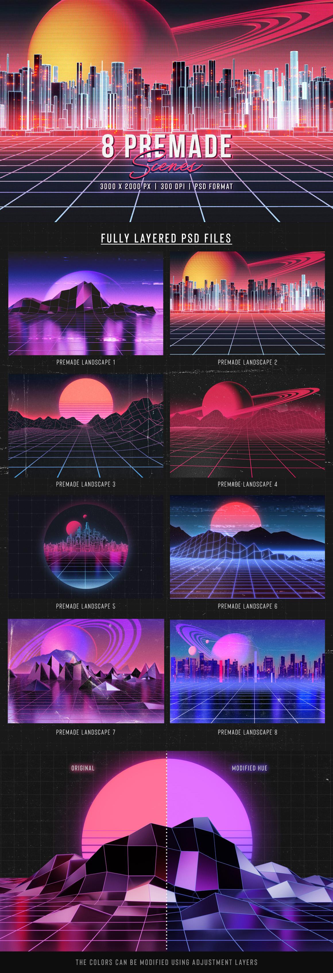 80年代复古时尚元素背景设计套装 Retro Landscape Kit插图(1)