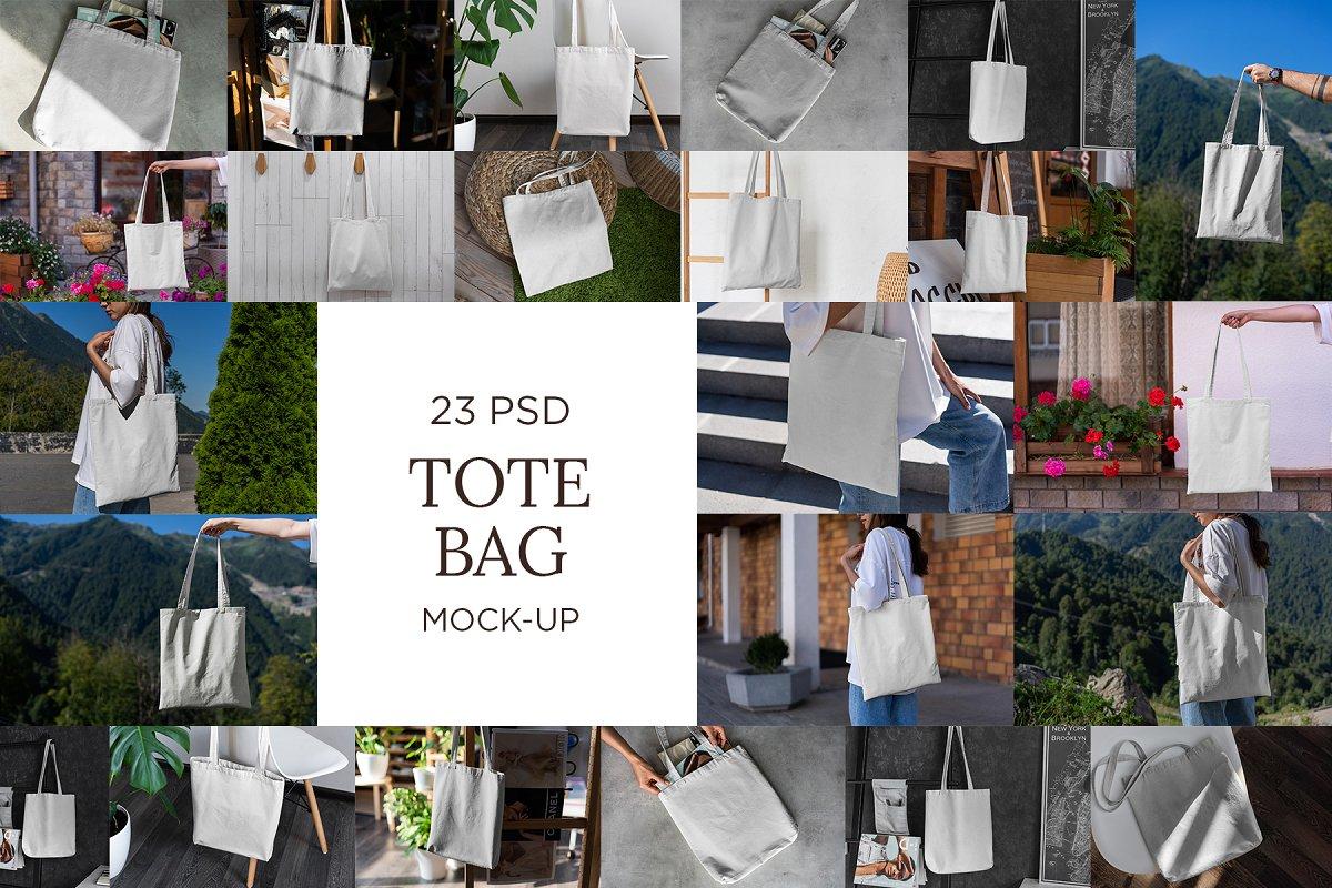 23款时尚生活方式手提帆布袋设计样机模板素材合集 Canvas Tote Bag Mockup Lifestyle插图(21)