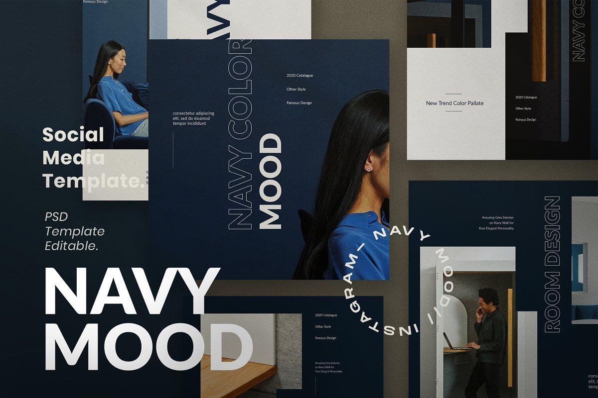海军蓝色家具设计工作室品牌推广社交媒体设计模板 Navy Mood – Social Media Template插图