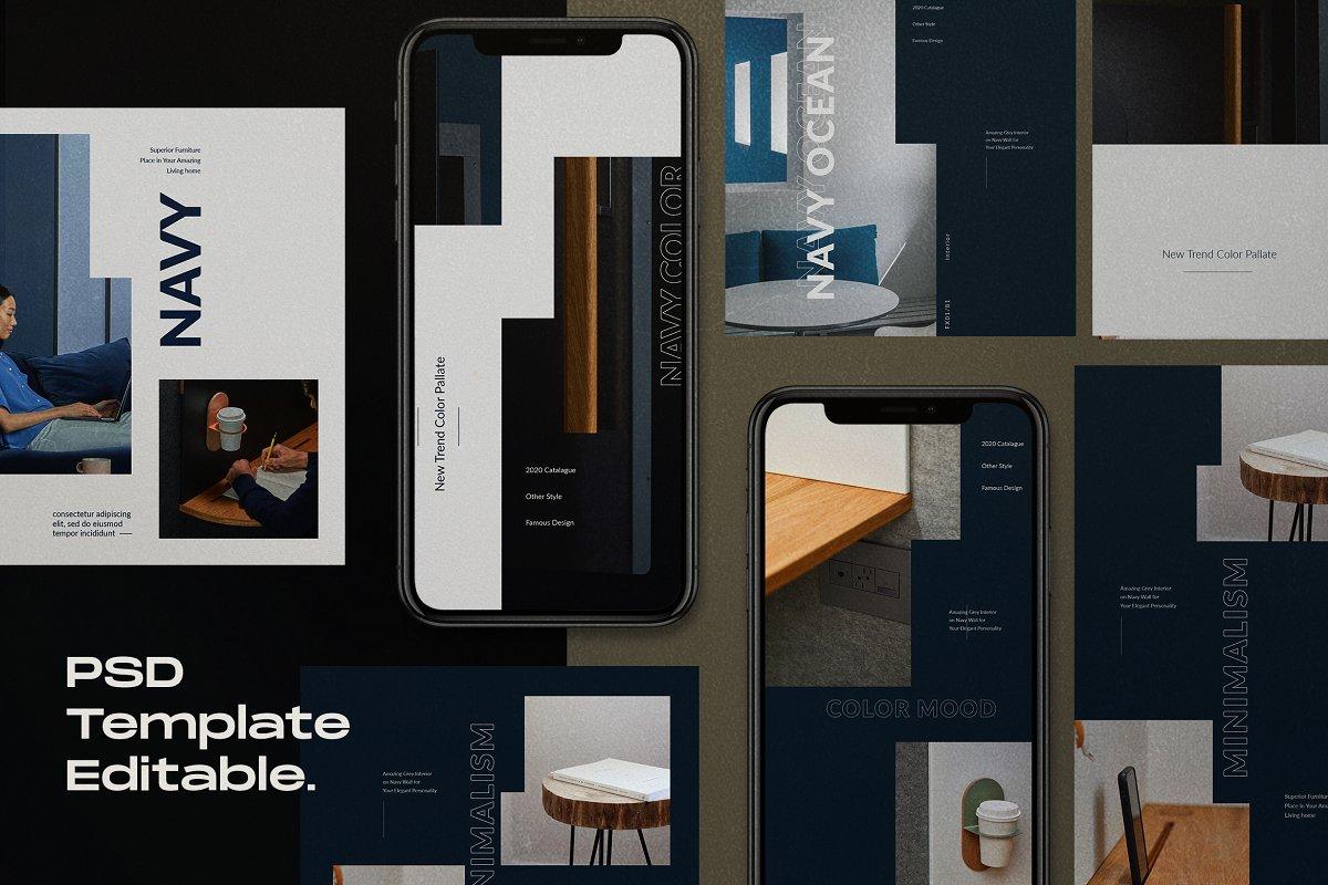 海军蓝色家具设计工作室品牌推广社交媒体设计模板 Navy Mood – Social Media Template插图(1)