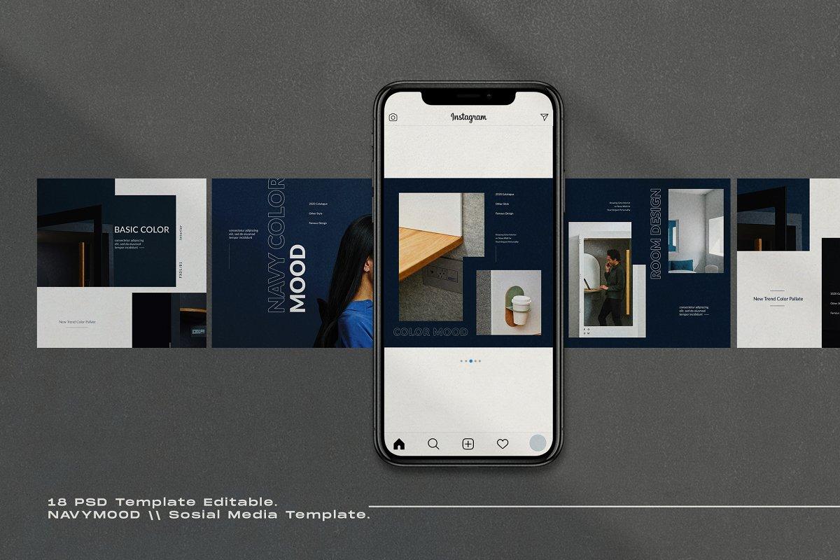 海军蓝色家具设计工作室品牌推广社交媒体设计模板 Navy Mood – Social Media Template插图(3)