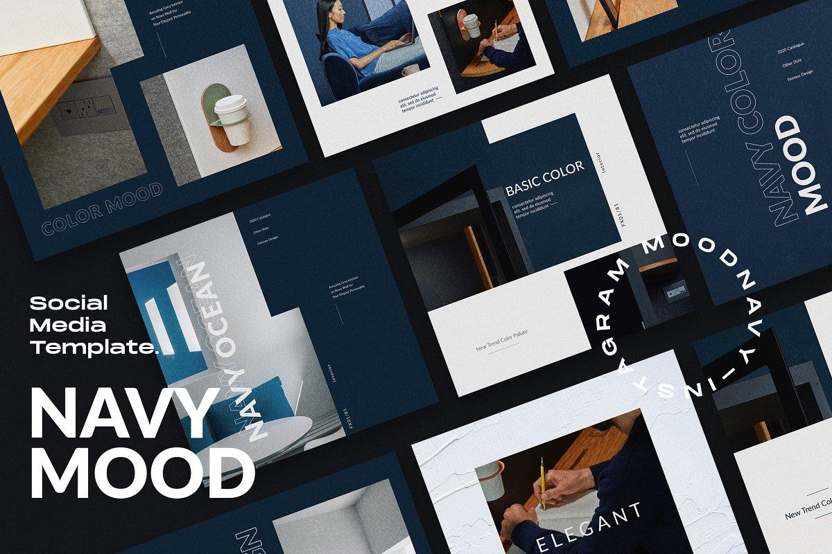 海军蓝色家具设计工作室品牌推广社交媒体设计模板 Navy Mood – Social Media Template插图(4)