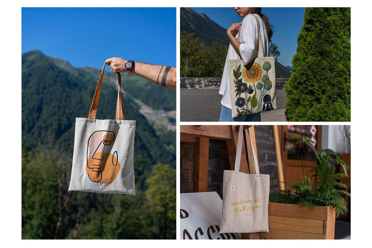 23款时尚生活方式手提帆布袋设计样机模板素材合集 Canvas Tote Bag Mockup Lifestyle插图(20)