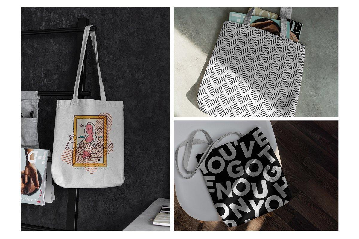 23款时尚生活方式手提帆布袋设计样机模板素材合集 Canvas Tote Bag Mockup Lifestyle插图(19)