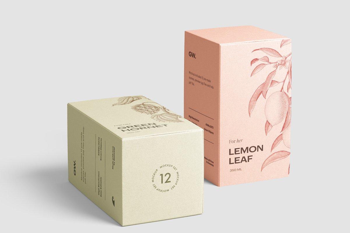 高质量方形化妆品香水包装盒设计预览图样机模板 Box Mockup Vol.3插图