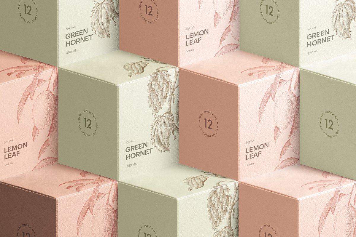 高质量方形化妆品香水包装盒设计预览图样机模板 Box Mockup Vol.3插图(12)