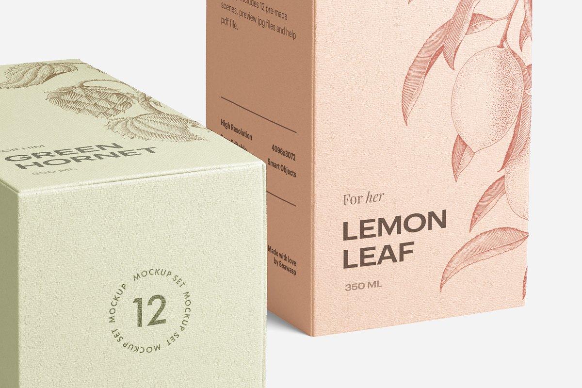 高质量方形化妆品香水包装盒设计预览图样机模板 Box Mockup Vol.3插图(1)